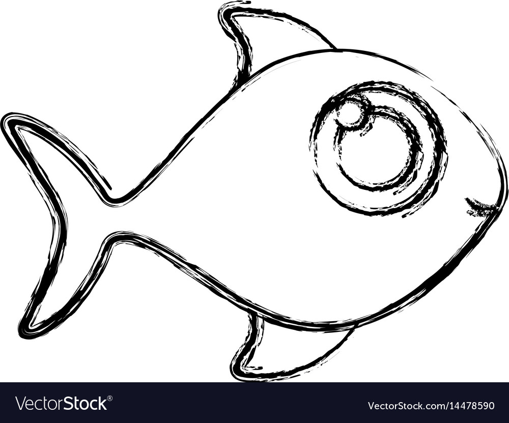 Monochrome sketch of fish without scales