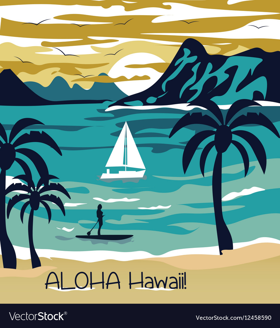 Summer beach with Palm trees Hawaii Card vector image
