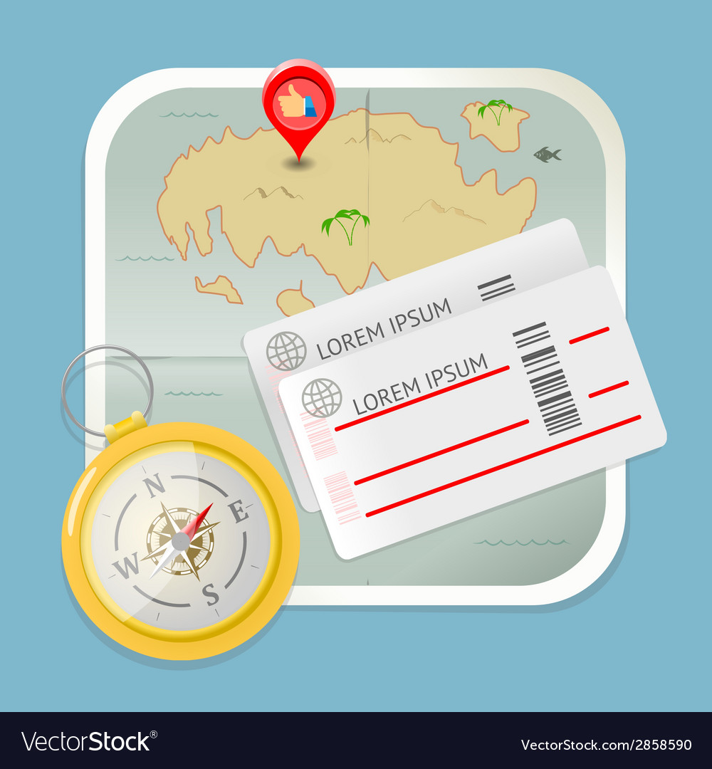 Travel map tickets compass icon