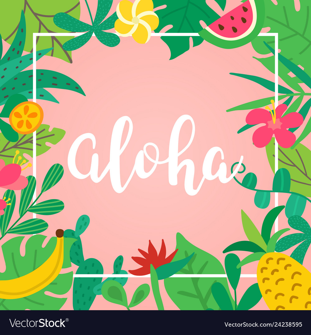 Aloha concept hand drawn lettering on pink