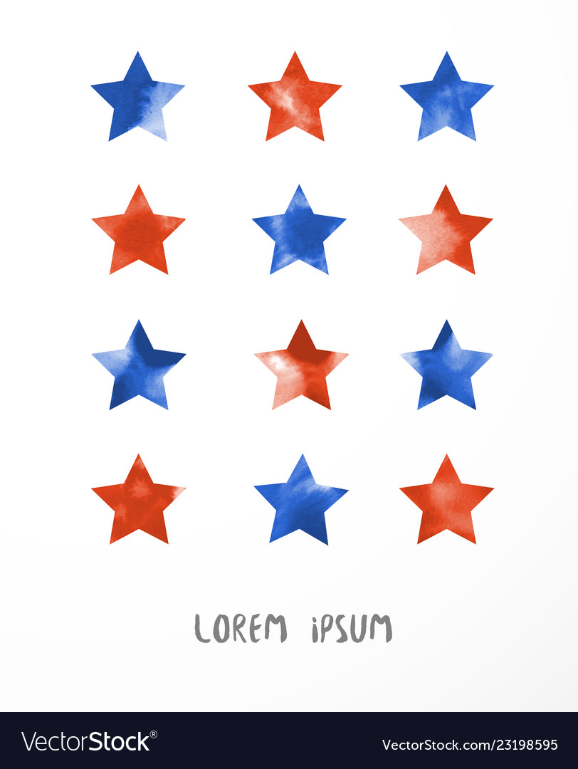 Blue and red stars on white background