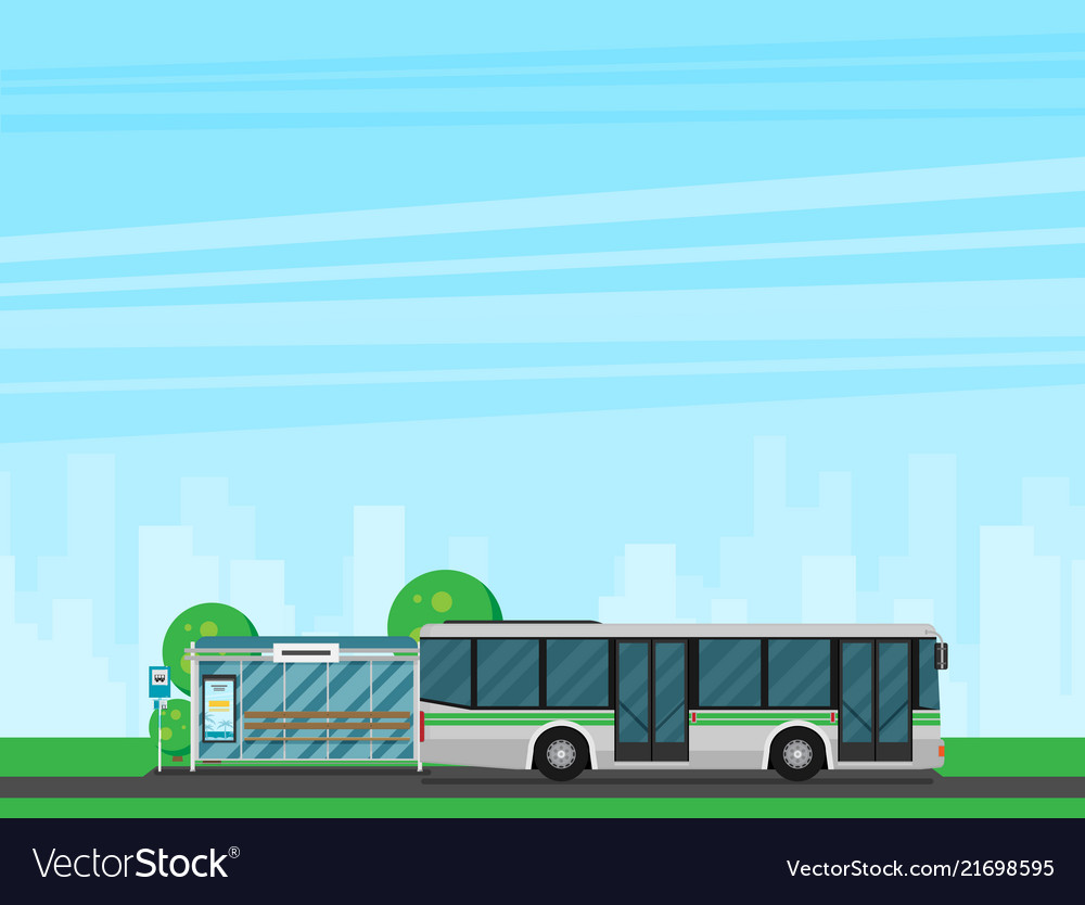 Bus stop with city skyline and bus flat design