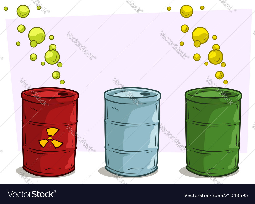 Cartoon coloful barrels with yellow radiation sign