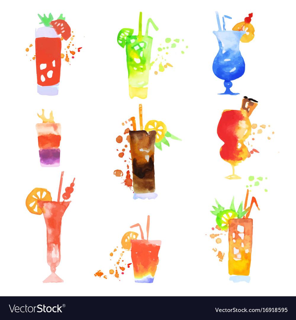 Cocktails set summer drinks watercolor