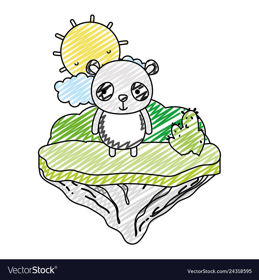 Doodle happy panda animal in the float island