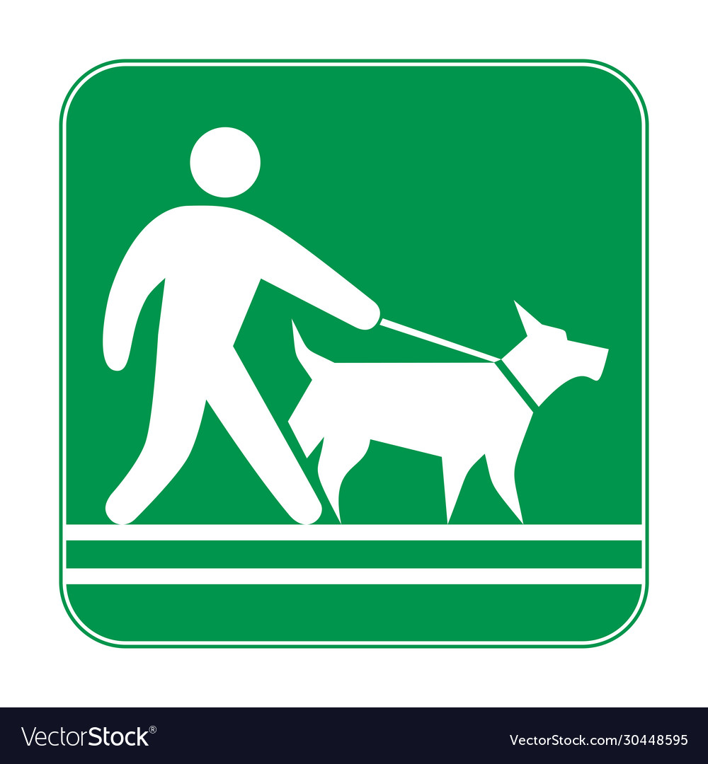 Green sign man walking with a dog on a leash
