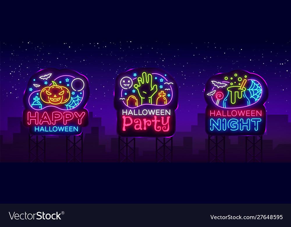 Halloween neon billboards collection