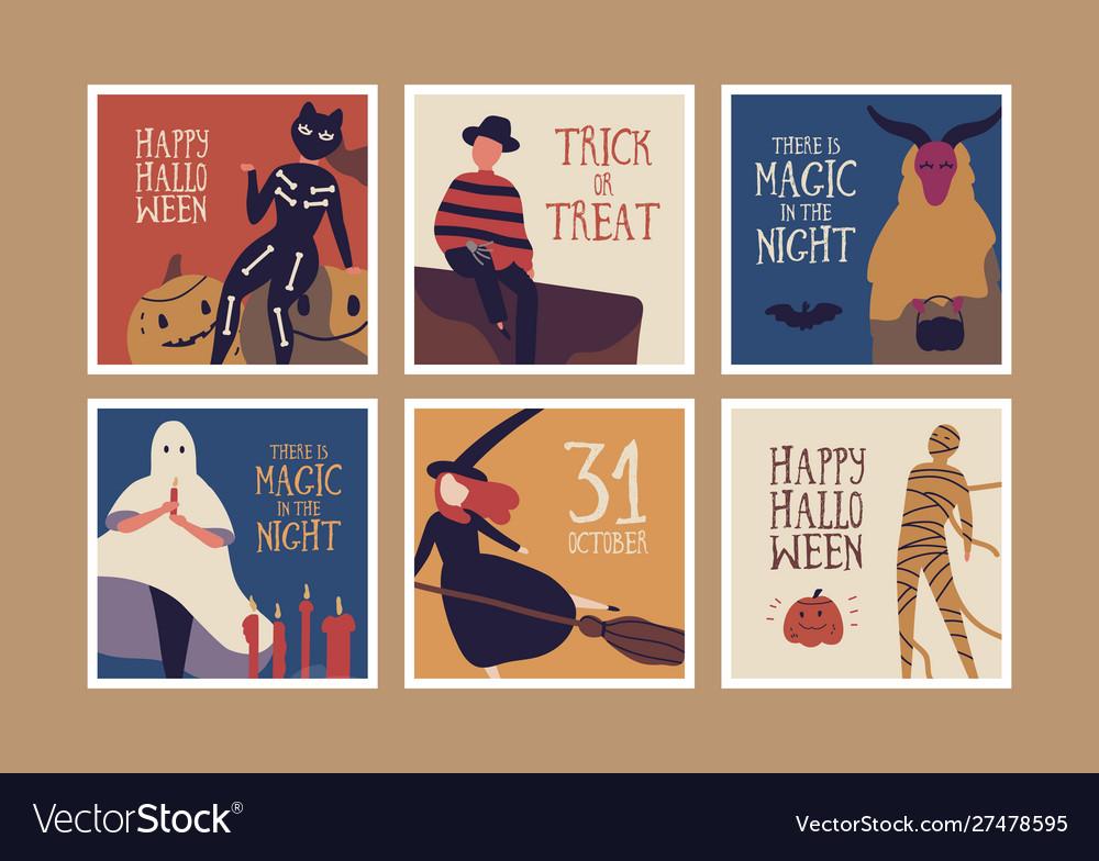 Halloween night banner templates set
