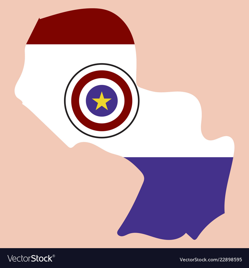 High resolution paraguay map with country flag