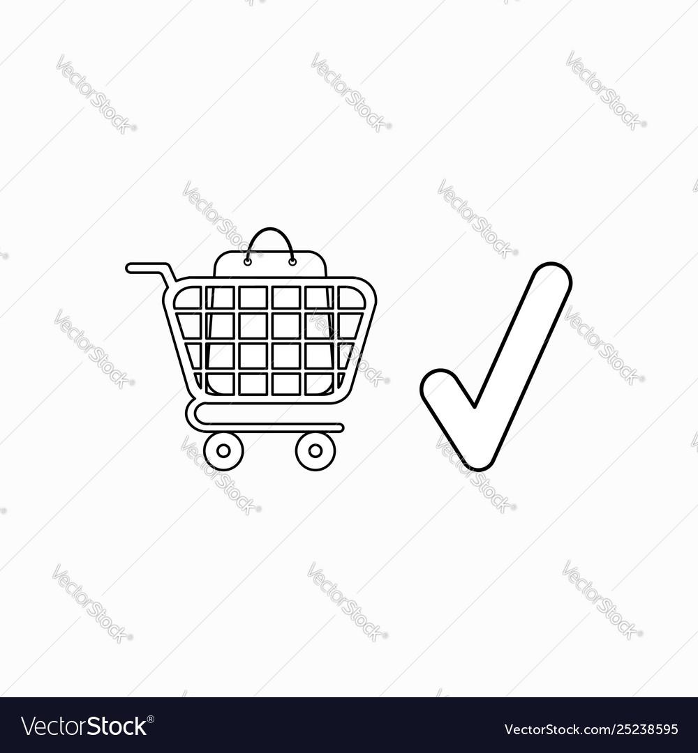 Icon concept shopping bag inside shopping cart