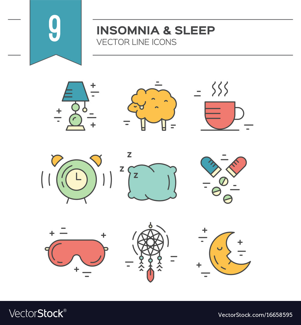 Insomnia line icons