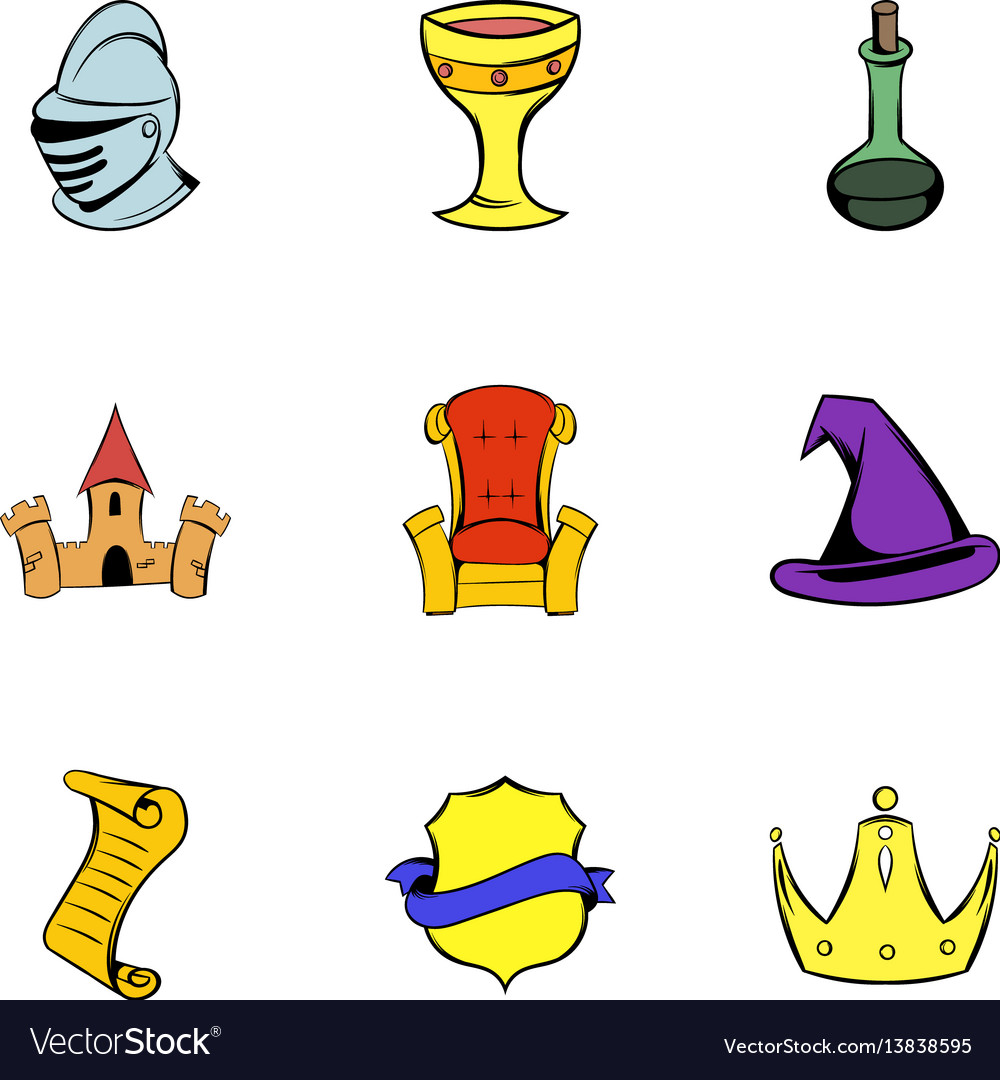 Middle age icons set cartoon style