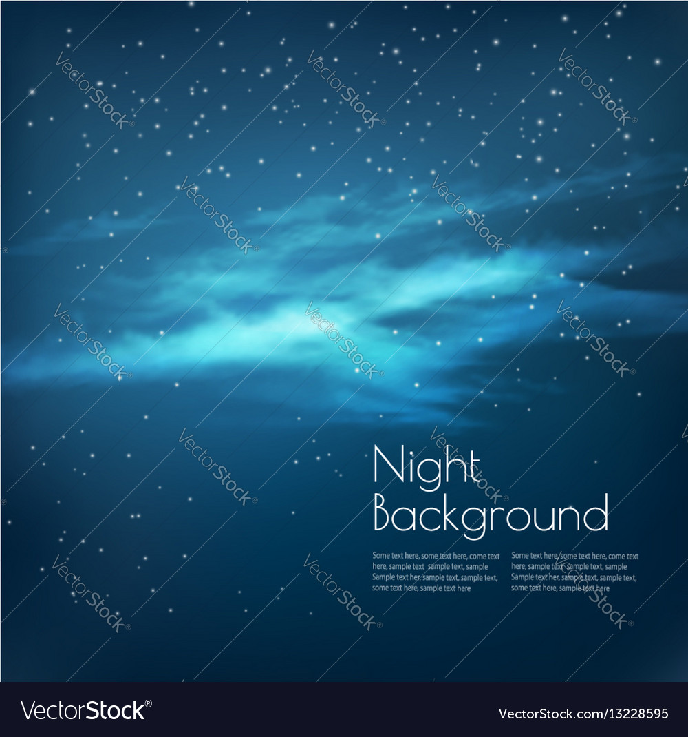 Night sky background with clouds and stars