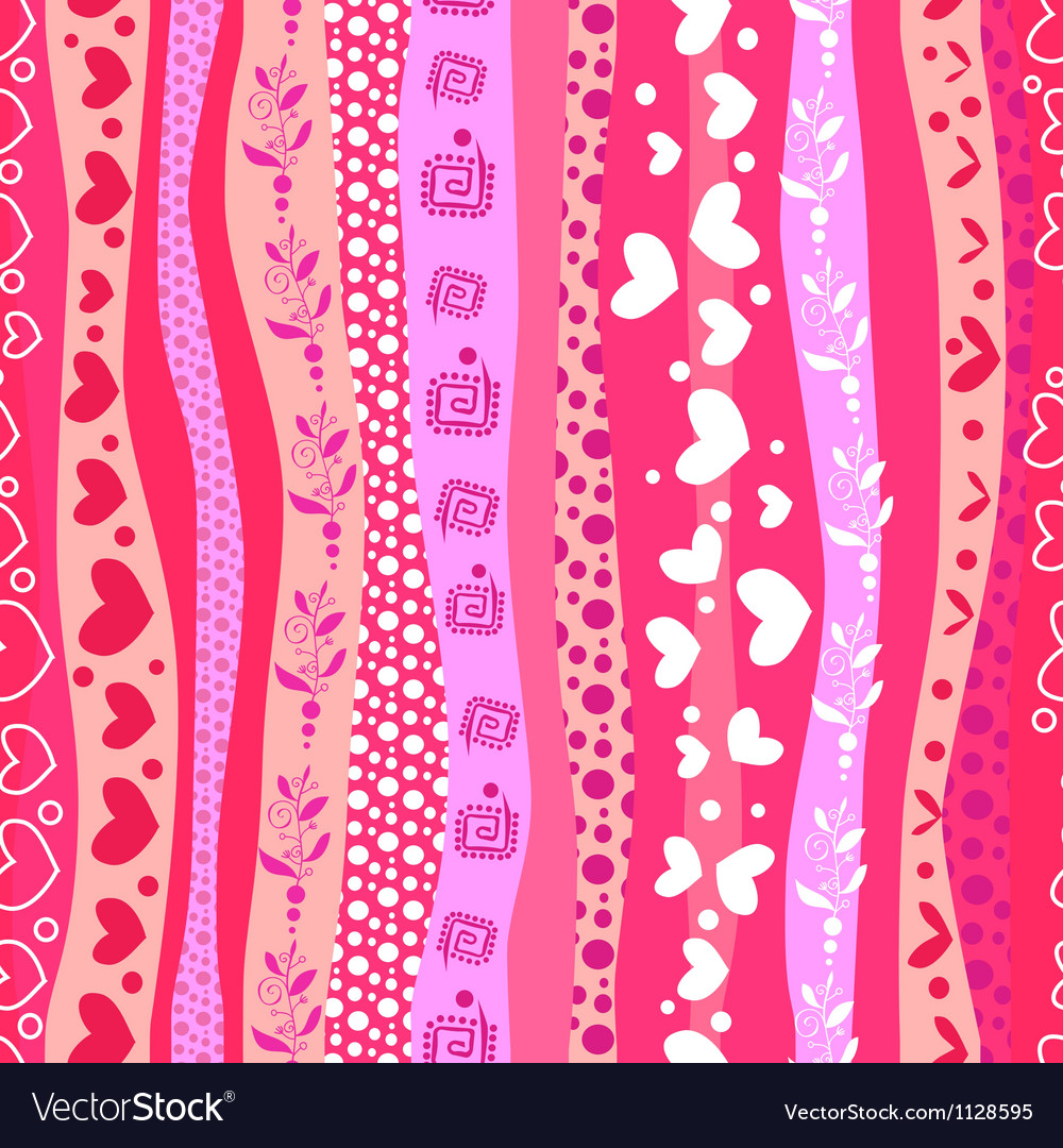 Pink Love Valentins Day Waves Seamless Background