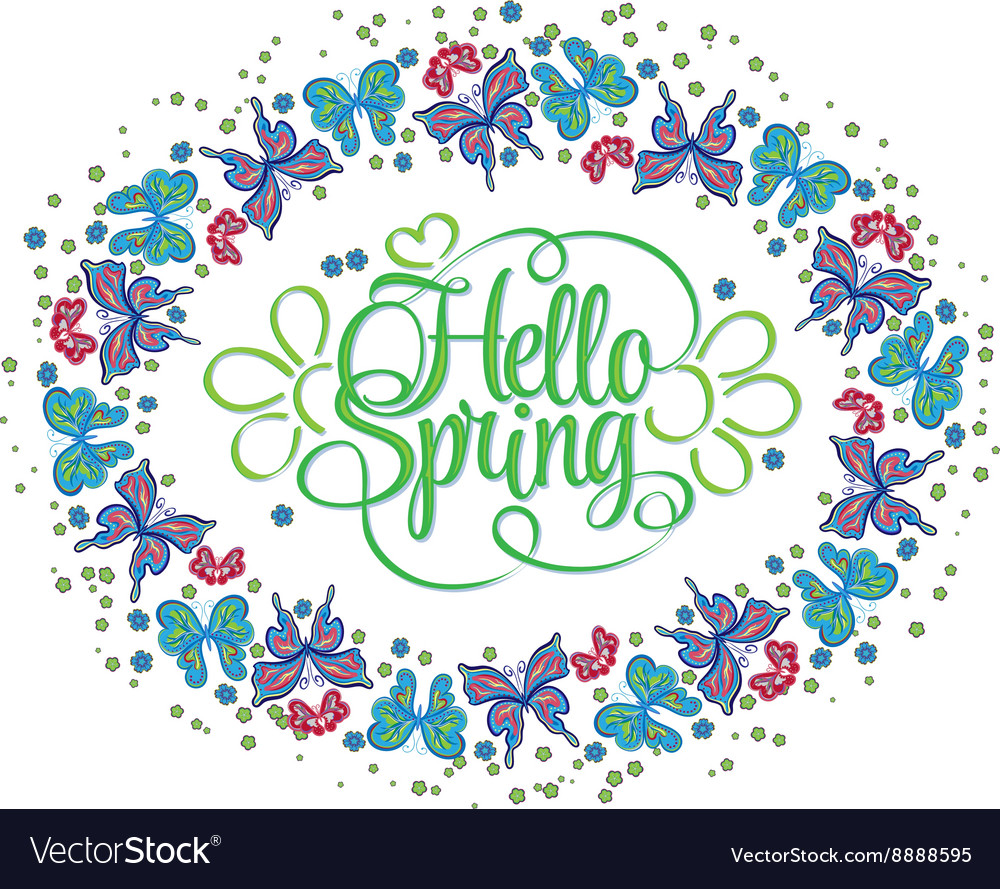 Round frame of butterflies Hello Spring lettering vector image