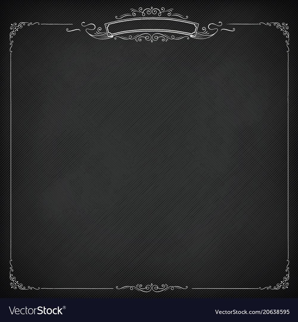 Square Retro Blackboard Background With Border Vector Image