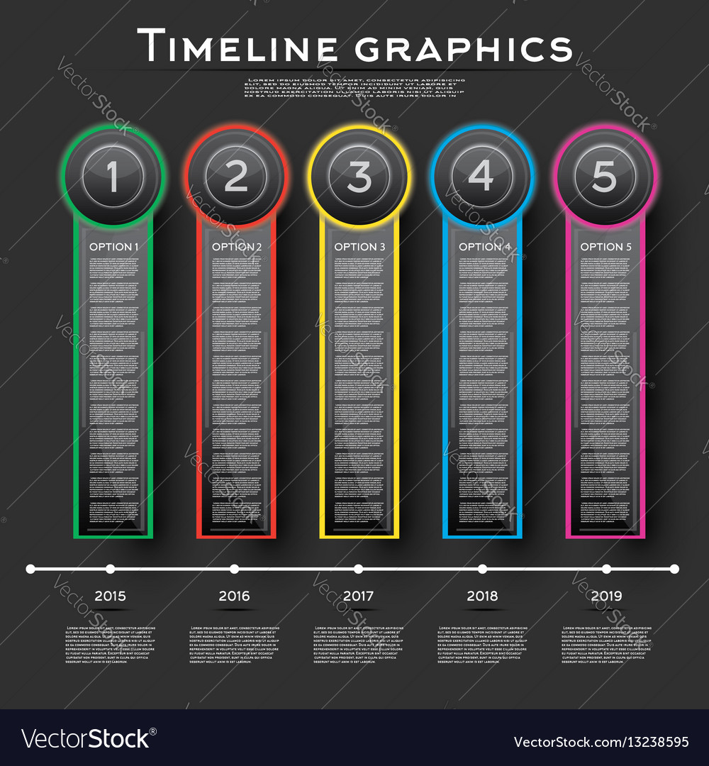 Timeline infographics design with five options