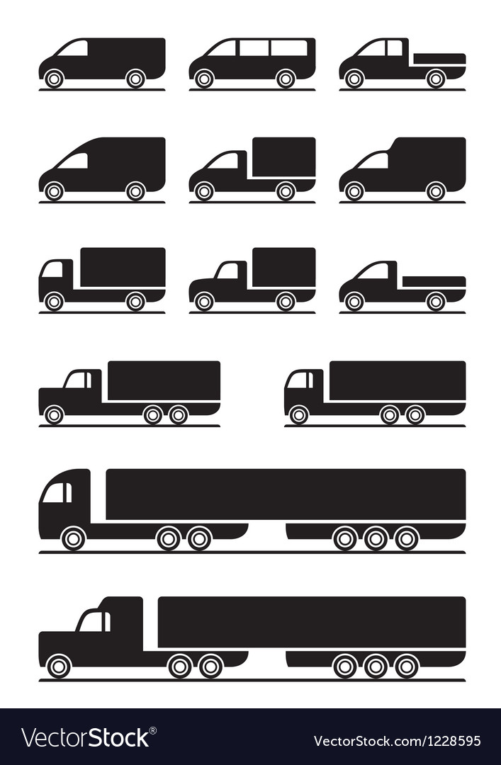 Trucks and pickups vector image