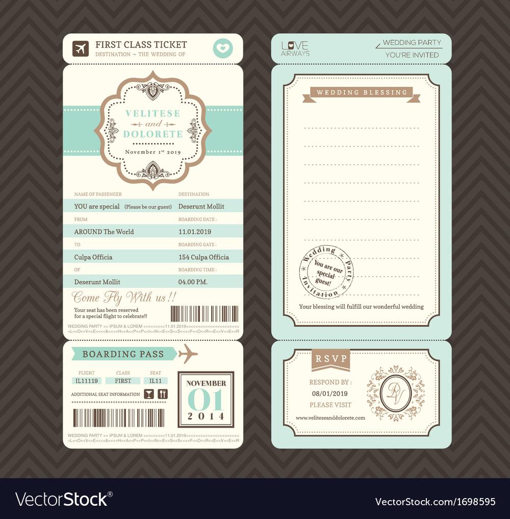 Vintage style Boarding Pass Wedding Invitatation vector image
