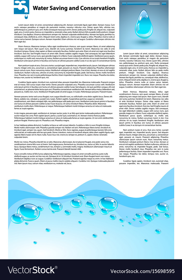 Water saving and conservation template vector image