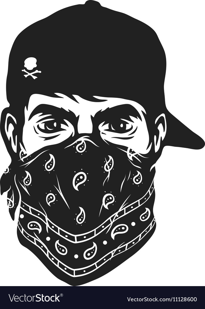 A Guy In A Baseball Cap And Bandana Royalty Free Vector