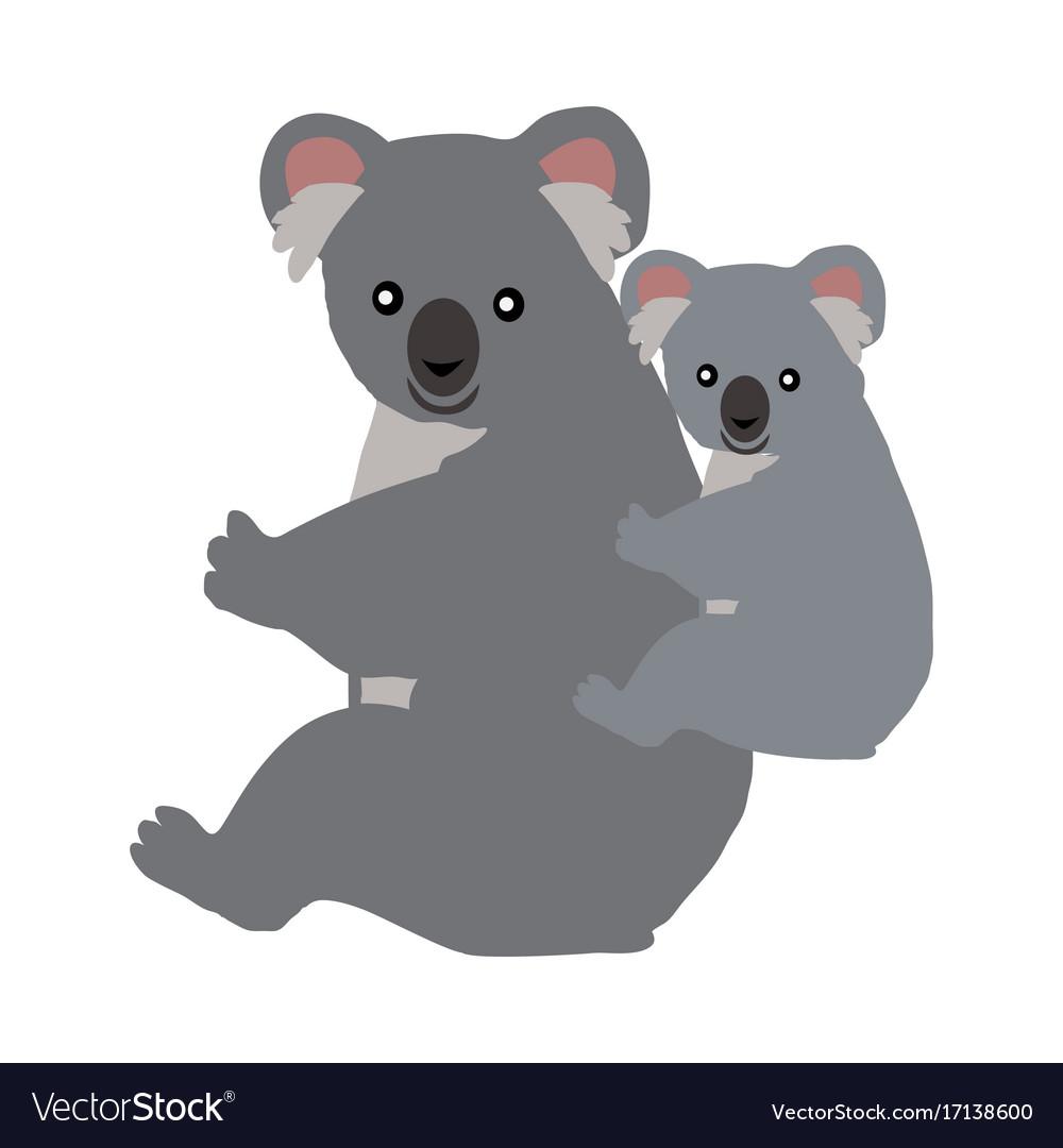 Cartoon koala with baby