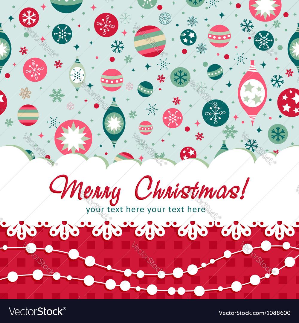 Decorative Christmas postcard on seamless vector image