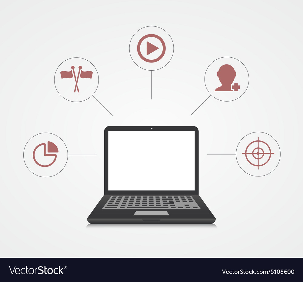 Digital marketing Laptop with sample icons