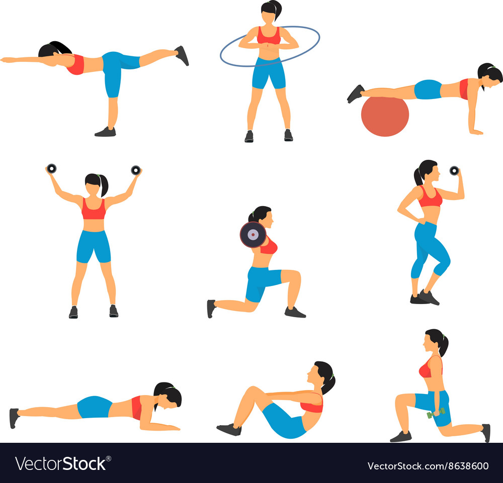 Fitness Decorative Flat Icons Set vector image