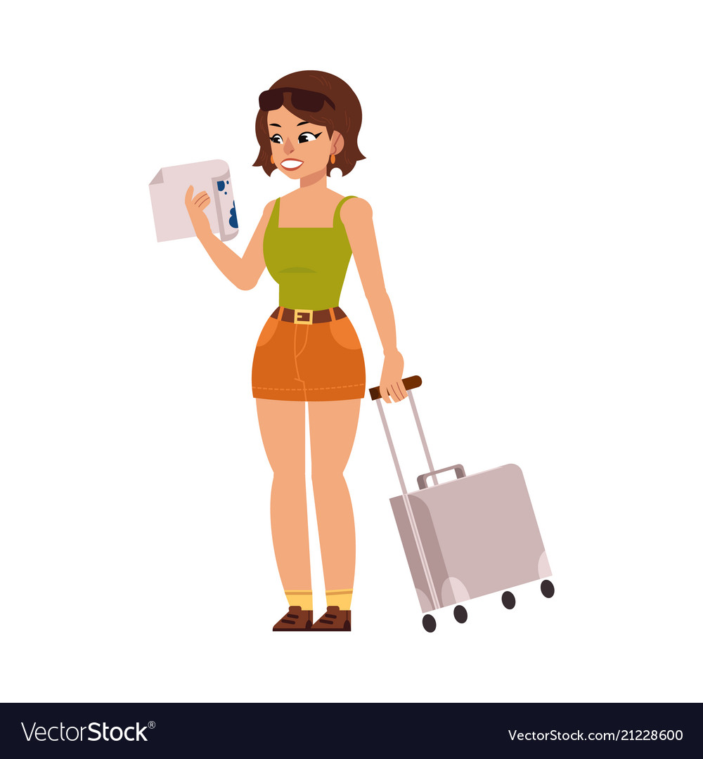 Flat woman tourist with travel bag suitcase