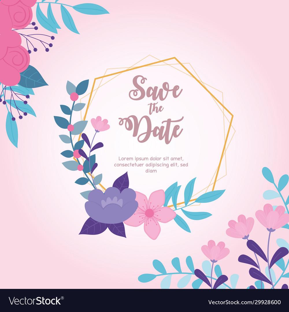 Flowers wedding save date frame floral