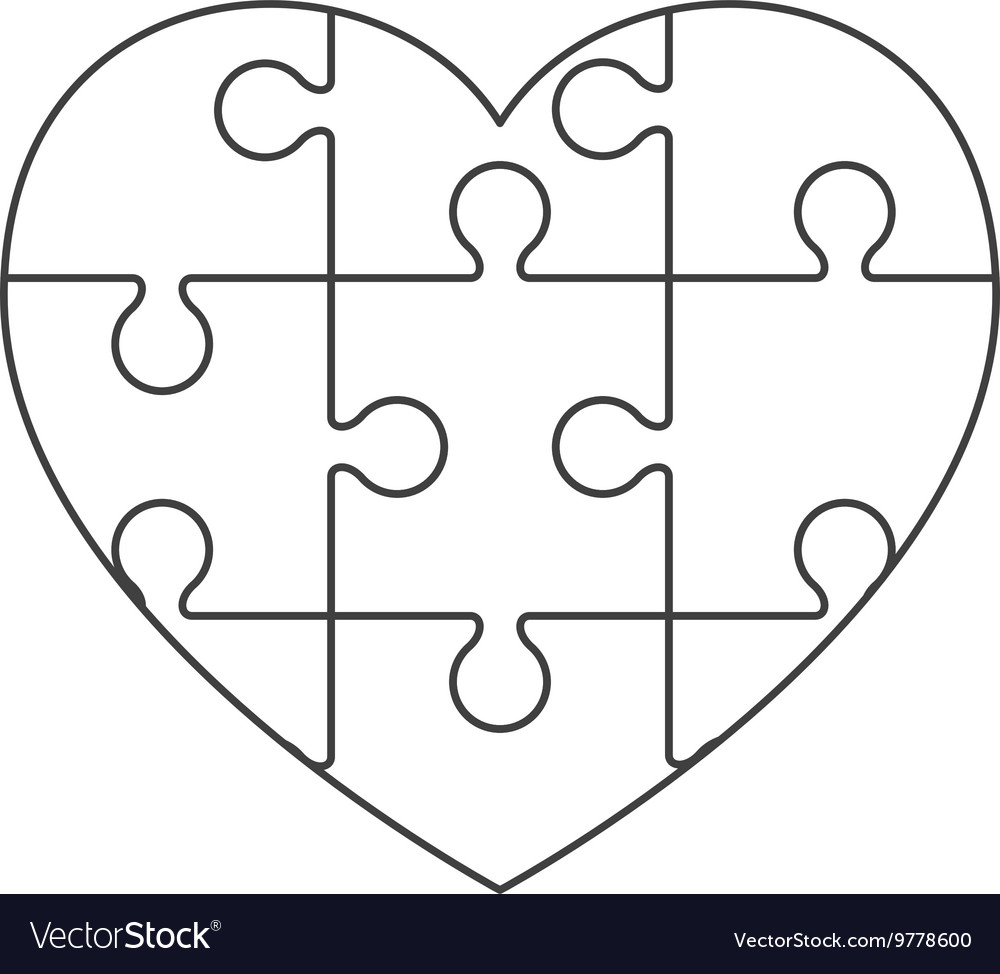 heart in puzzle pieces icon royalty free vector image