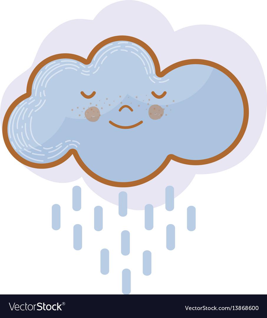 Kawaii tranquil cloud raining icon