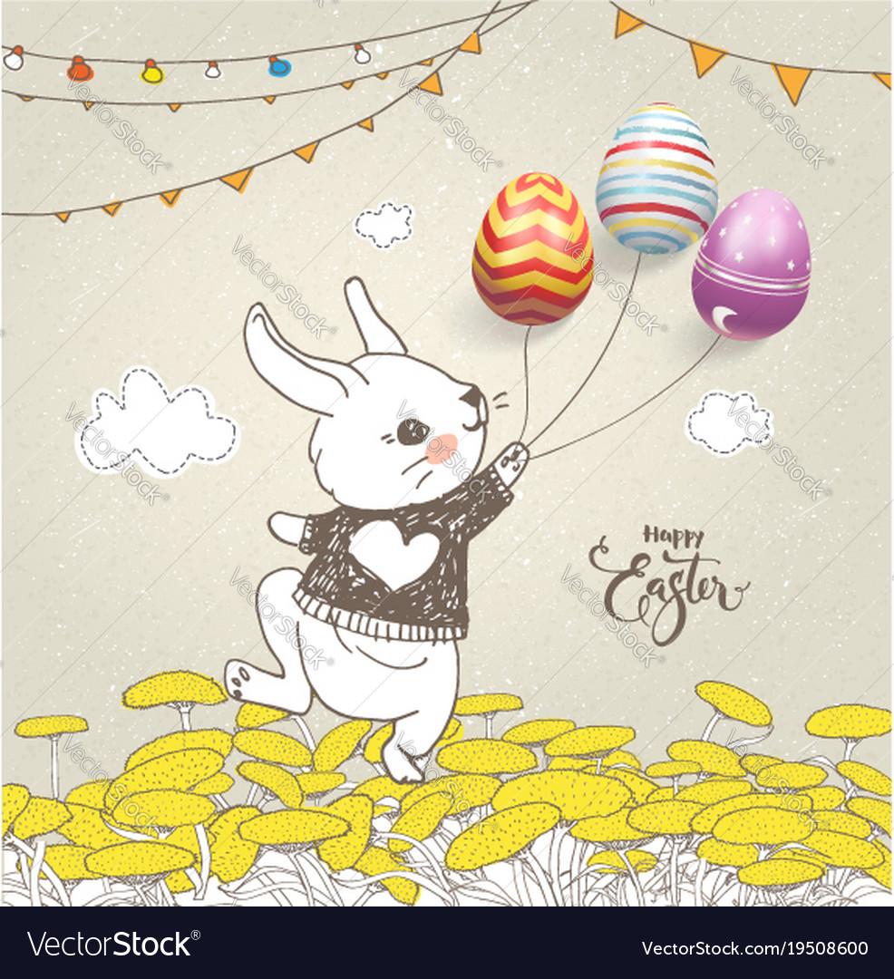 Lovely baby rabbit dressed in jumper holding vector image