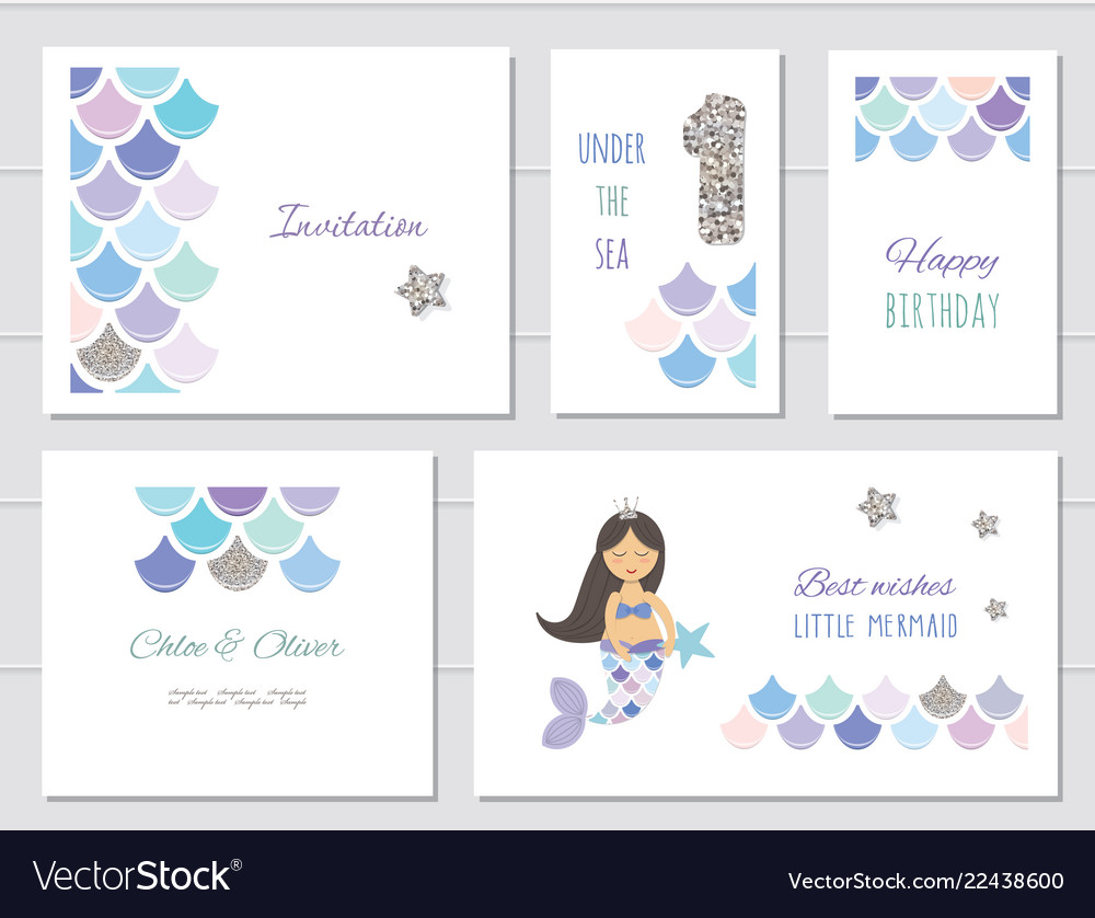 Mermaid birthday card templates set for girls one