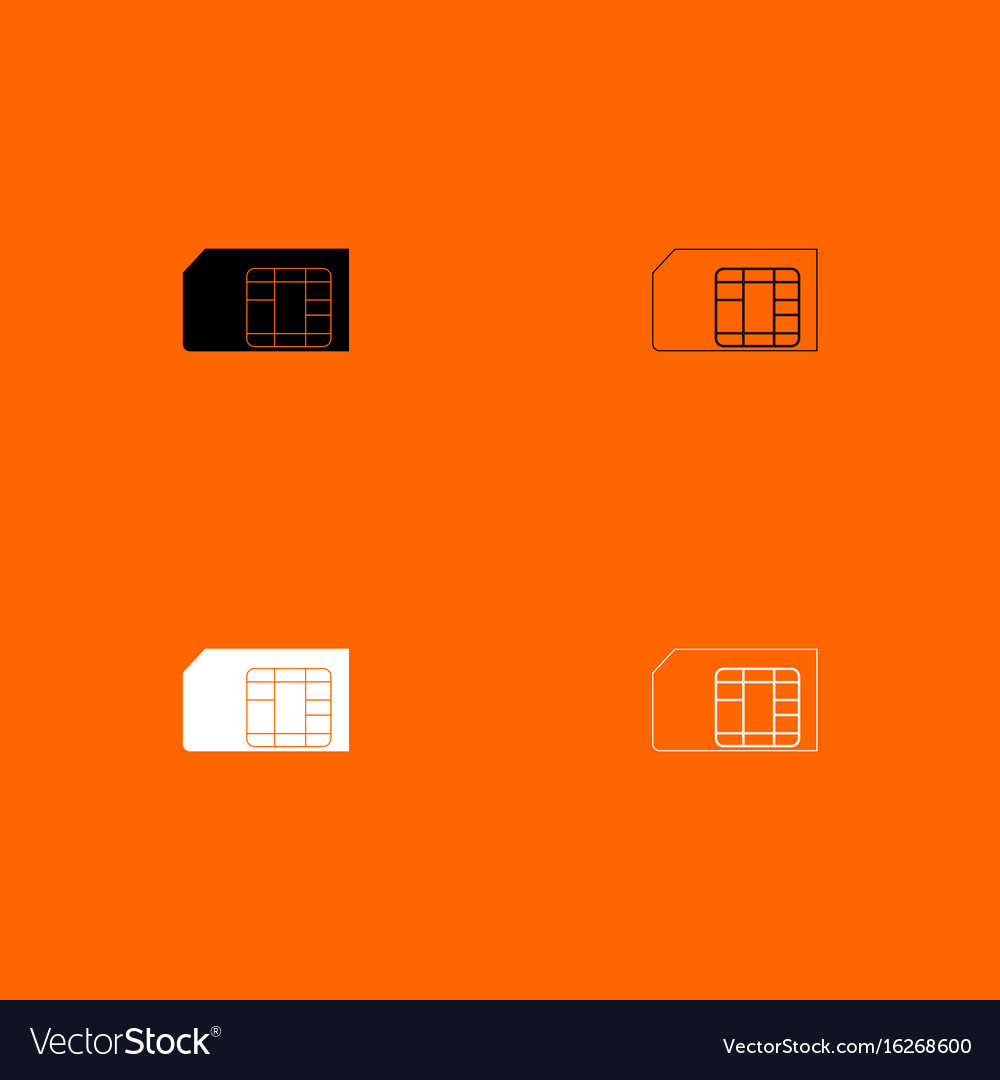 Sim card black and white set icon vector image