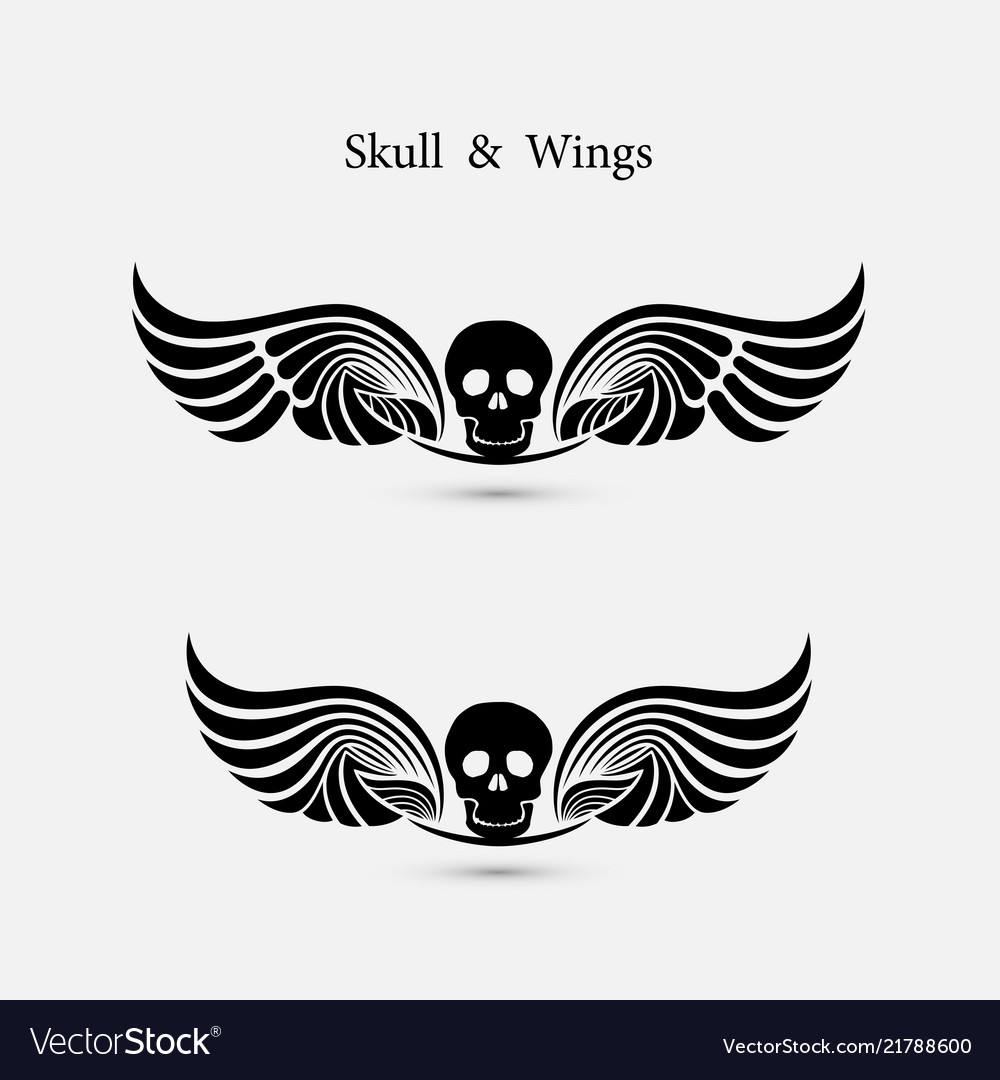 Skull logo with devil wings logo design