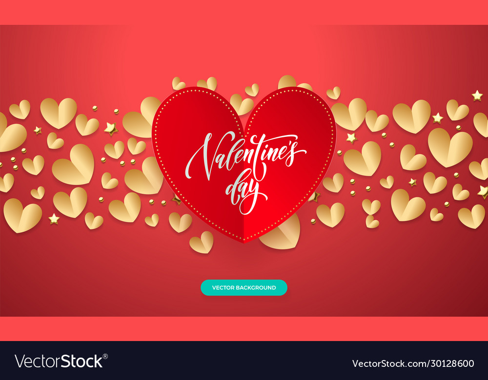 Valentines background with romantic red and gold