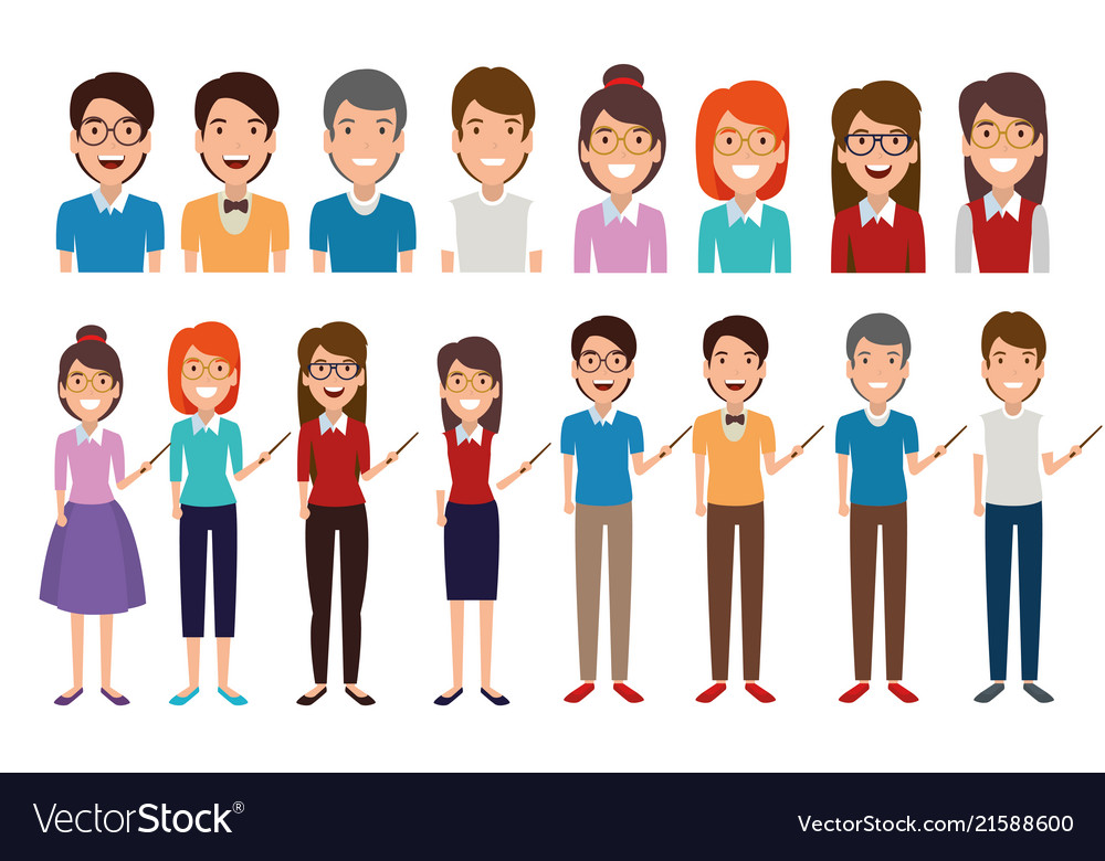 Young people avatars characters