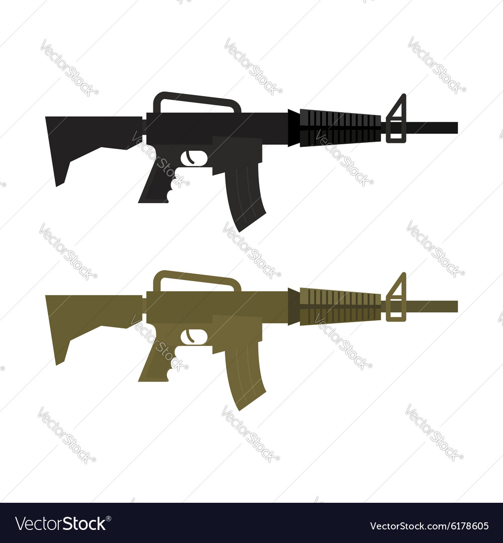 Army Military machine gun Set of two martial vector image