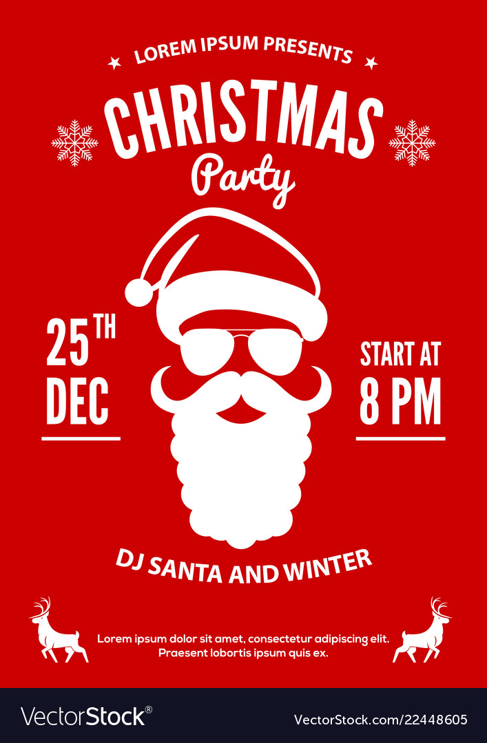 Christmas party invitation poster design