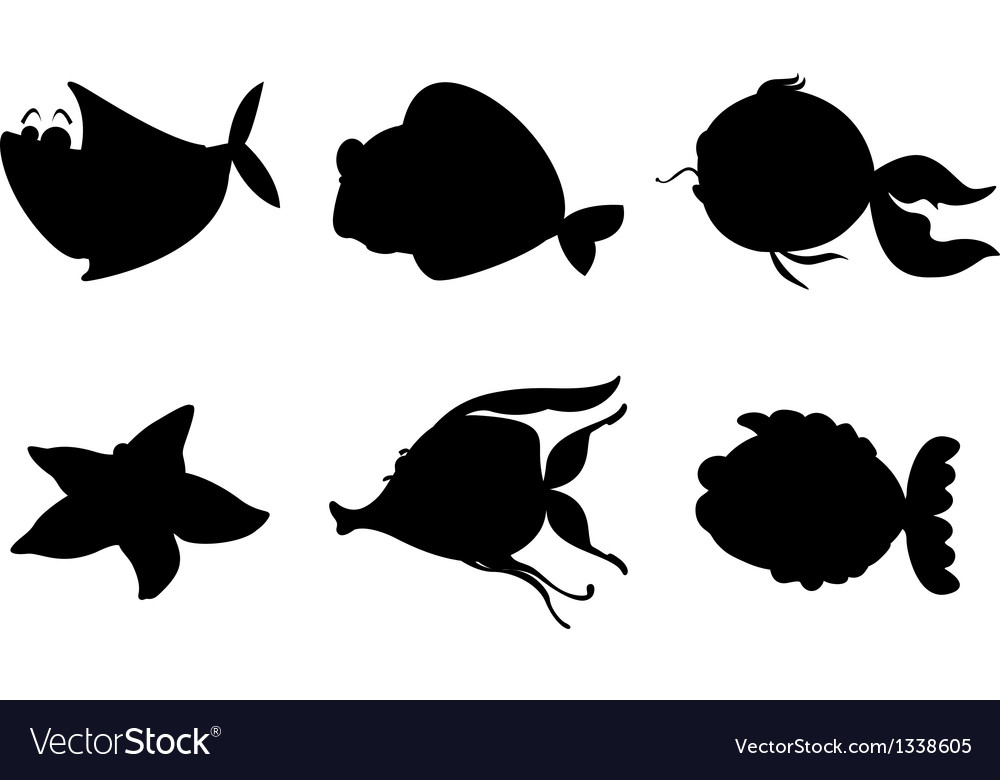 Different silhouettes of sea creatures