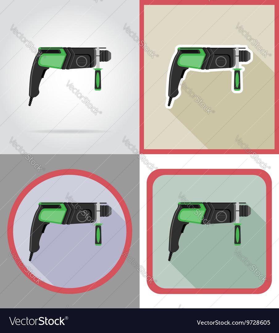 Electric repair tools flat icons 02