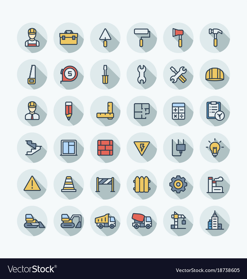 Flat color thin line icons set with