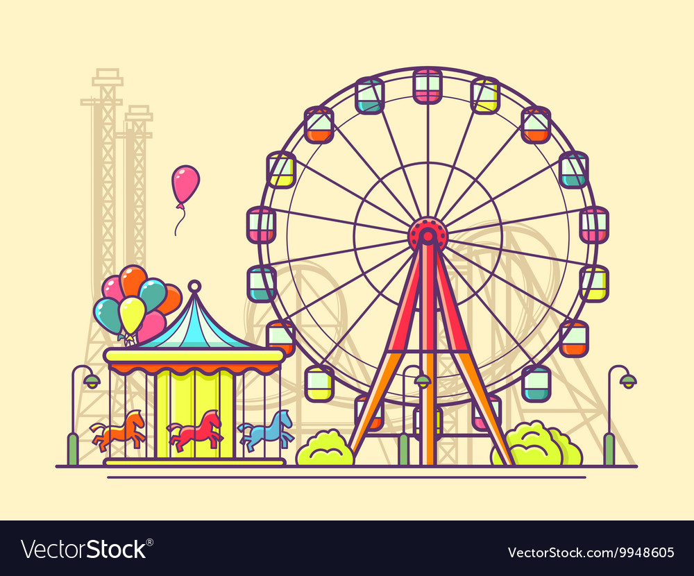 Funfair with ferris wheel