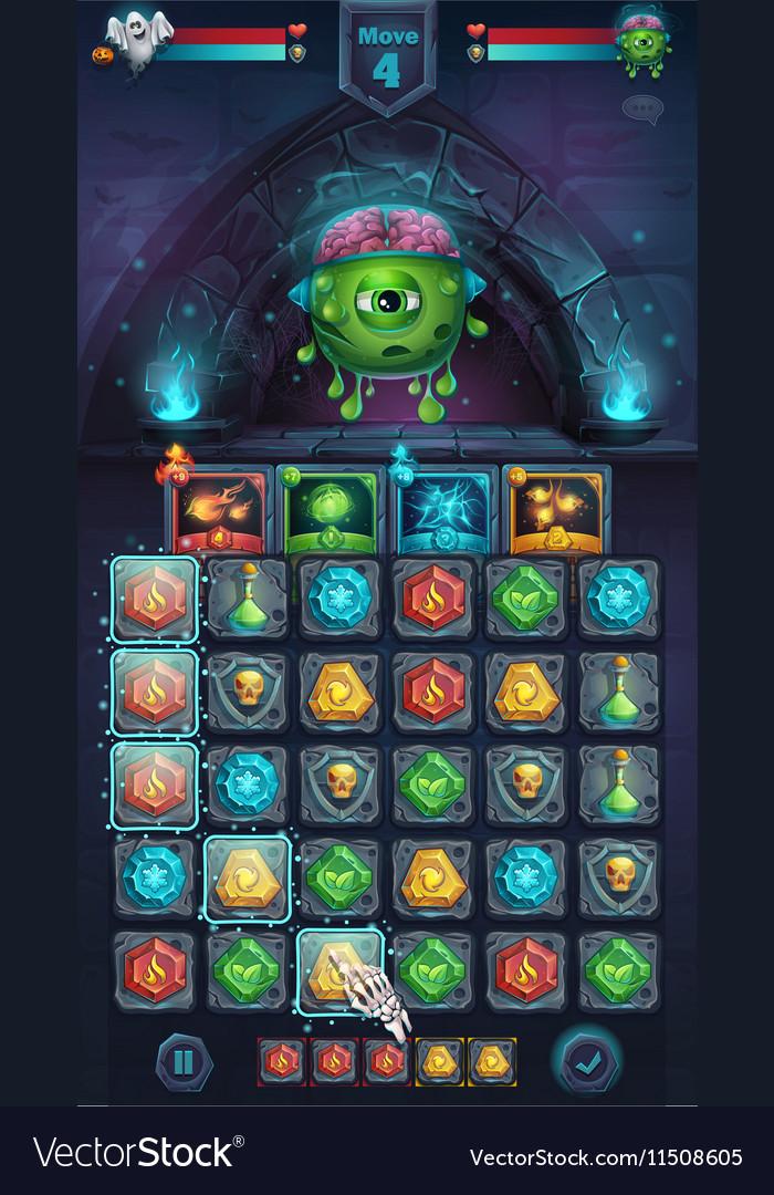 Monster battle GUI freak with brain
