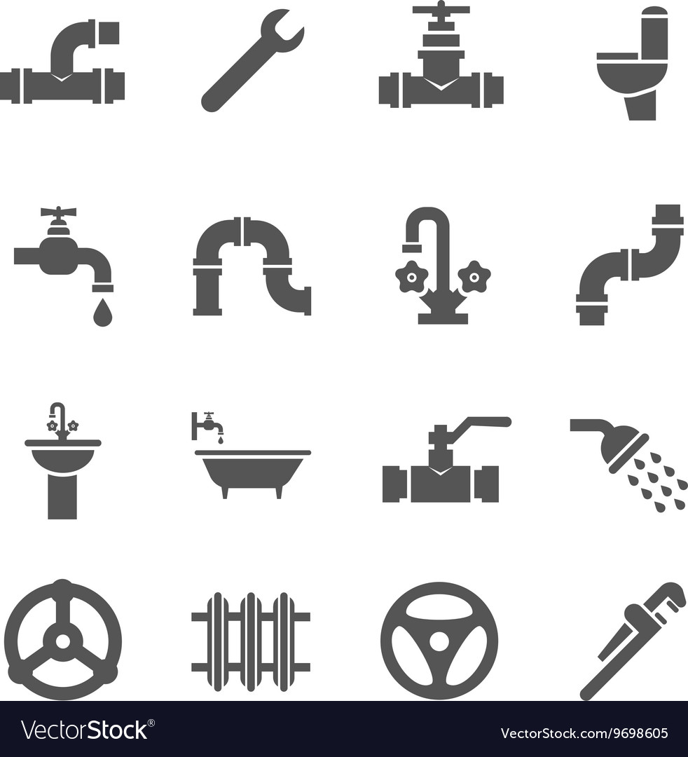 Plumbing Service Objects Tools Bathroom Royalty Free Vector