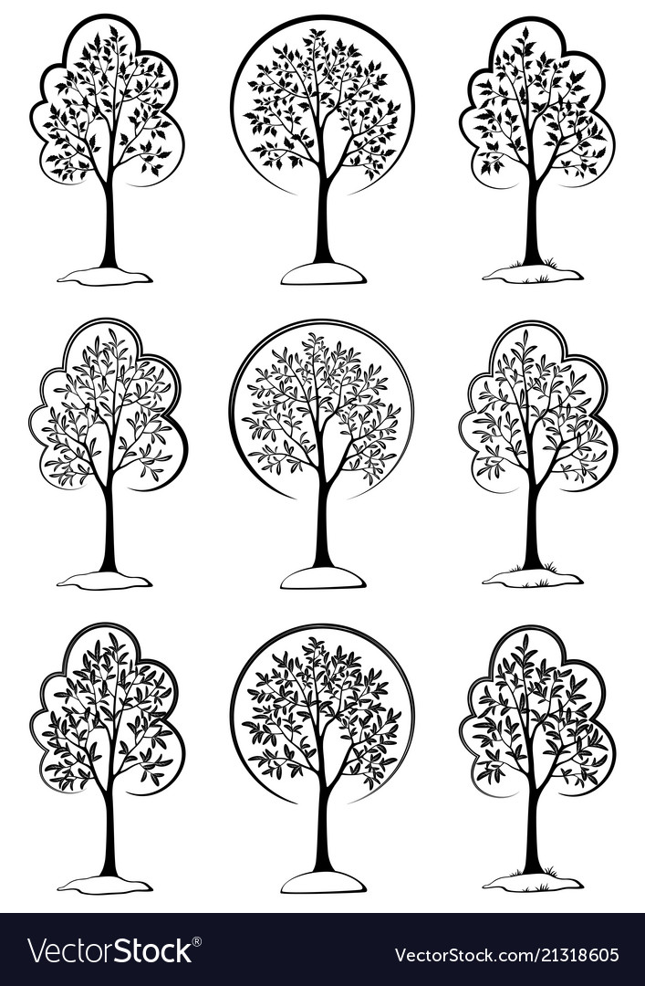 Trees black pictograms