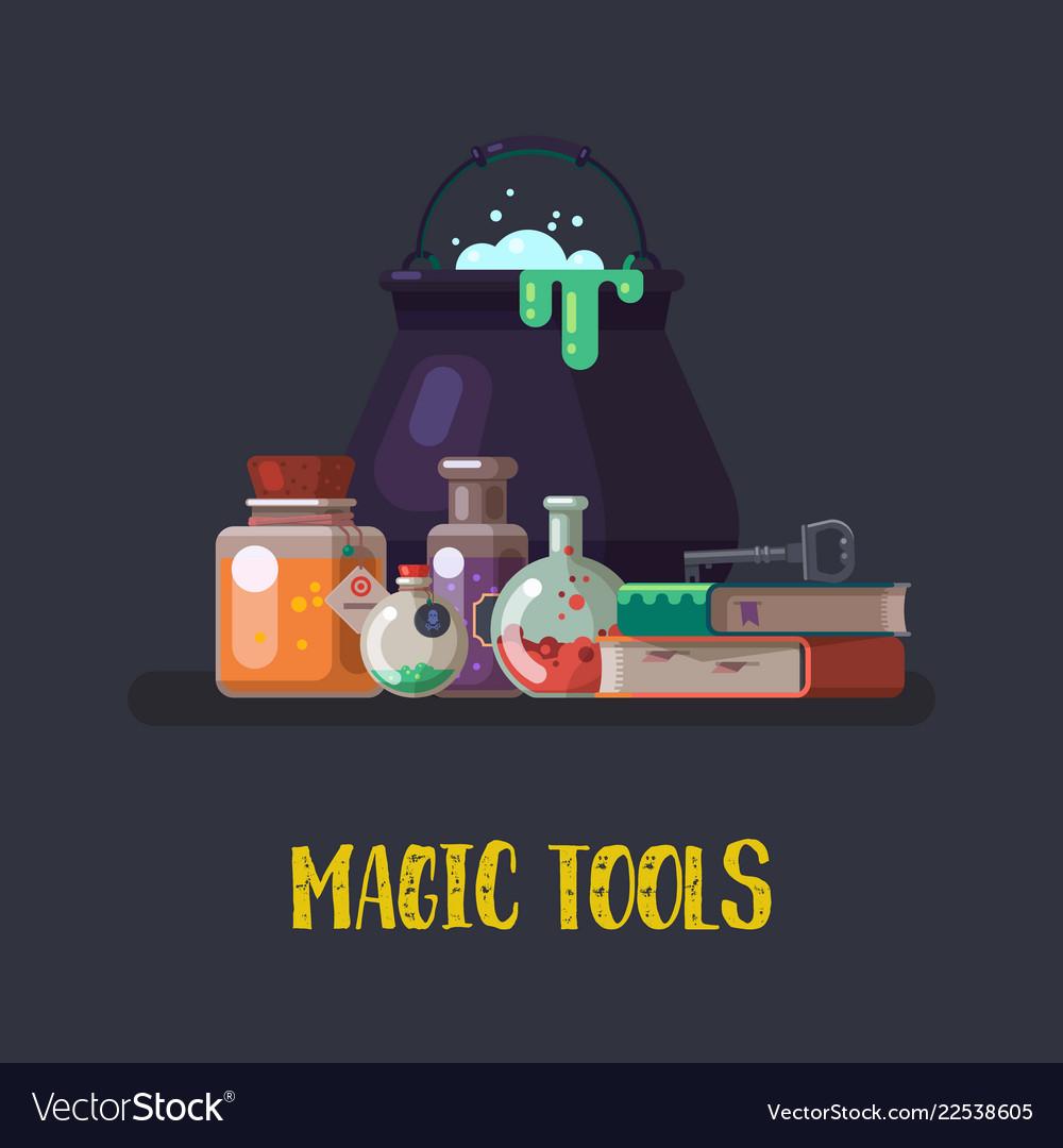 Witch cauldron and magic books flask halloween
