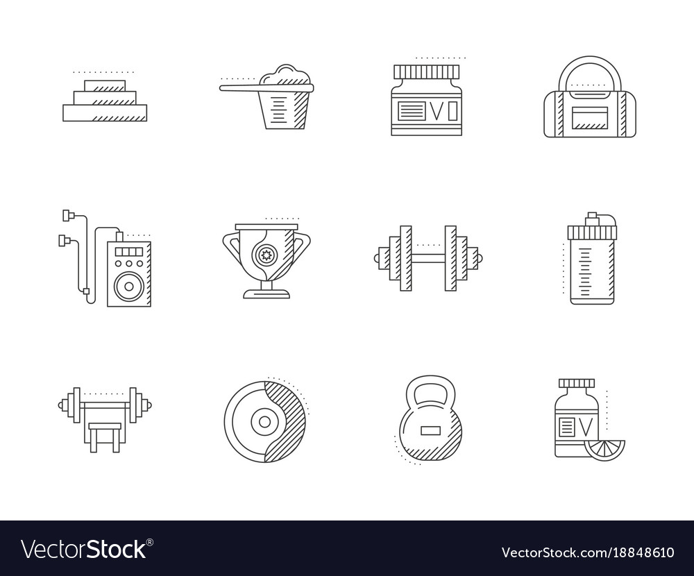Bodybuilding and fitness flat line icons